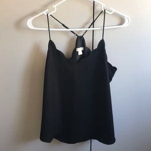 J. Crew Tops - Black Scalloped J Crew Tank
